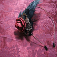 Black feathered gears and red rose head band by caitlinjohns