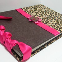 Custom Bridal Shower Guestbook/Album - Cheetah Print & Brown Fabric w/Fuschia Ribbon Album - custom colors available | MichelleWorldesigns - Wedding on ArtFire