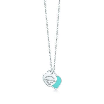 Tiffany & Co. - Return to Tiffany™ mini double heart tag pendant in silver with enamel finish.