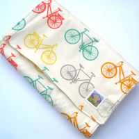 Set of Two Organic Cruiser Bikes Burp Cloths  by GrowingUpWild