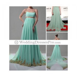 A-line Spaghetti Straps Sweep/Brush Train Chiffon Evening/Prom/ Fashion Dress (TCDLYZ034) [TCDLYZ034] - &amp;#36;131.39 : wedding fashion, wedding dress, bridal dresses, wedding shoes