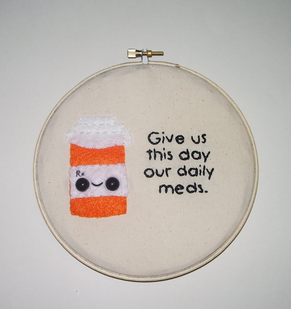 Made To Order Daily Meds Embroidery Wall Art | Luulla