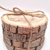 Eco Friendly Tree Branch Coasters (Two Available Styles) - Set of 4, Upcycled, Anthro Inspired