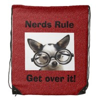 Nerds Rule Get Over it! Red Drawstring Backpack