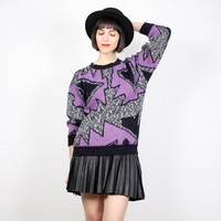 Vintage Cosby Sweater 1980s 80s Sweater Pullover Jumper Black Charcoal Gray Purple New Wave Abstract Print Geometric Knit S Small M Medium