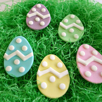Easter Egg Cupcake Fondant Topper, Easter Decor Spring, Easter Party, Chevron Polka Dot, Blue Purple Pink Green Yellow, Edible Topper-set 30