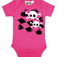 Argyle Skull Girls Hot Pink One Piece - My Baby Rocks