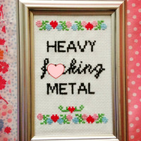 MADE TO ORDER - Heavy f-cking metal - Finished and framed cross stitch - nsfw