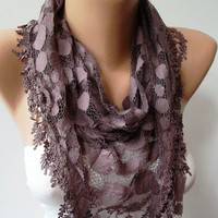 Dark Purple Patterned Tulle Scarf with Same Color by SwedishShop