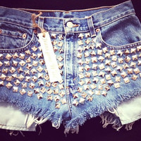 New High waist destroyed denim shorts super frayed with and super silver studded all sizes by Jeansgonewild