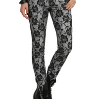 Tripp Grey Rose Lace Skinny Jeans