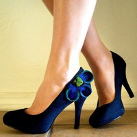 CARLY IN HEELS Suede Pumps with Peacock by TheHeadbandShoppe