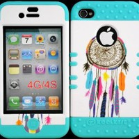 Bumper Case for Iphone 4 4s Dreamcatcher on White Design Hard Plastic Snap on Baby Teal Silicone Gel