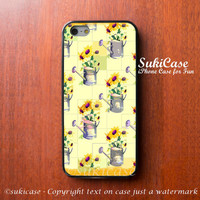 IPHONE 5S CASE Watering Sun Flower Sweet Floral Yellow iPhone Cases iPhone 5 Case iPhone 4 Case Samsung Galaxy S4 Cover iPhone 5c iPhone 4s