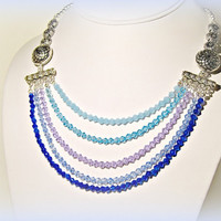 Blue Hombre Crystal Layered Necklace - Statement Necklace - Water Colors - Summer Colors - Wedding - Blue - Shades of Blue