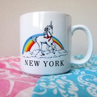 Magical Rainbow Unicorn New York City Ceramic Tourist Mug! NYC Pride, Tourist Kitsch!
