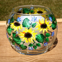 Painted Sunflowers Glass Candle Holder