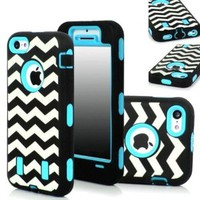 KINGCO 3in1 New Chevron Wave Design Armored Hybrid PC & Silicone Case Combo for Apple iPhone 5C (Sky Blue)