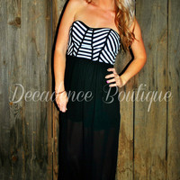 SEASON OF LOVE BLACK CHIFFON MAXI DRESS