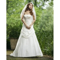 Strapless Boned Bodice Applique Taffeta A-Line Vintage Wedding Dress - Basadress.com