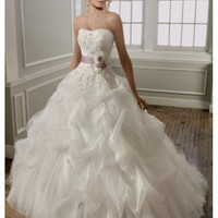 Romantic Lace tulle Strapless pleated Ball Gown Wedding Dress - Basadress.com