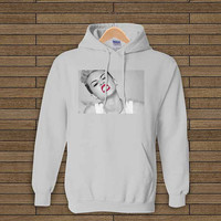 MILEY CYRUS we cant stop red lip ash grey hoodie sweet hoodie
