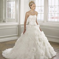 Luxury Organza Strapless Ball Gown Wedding Dress - Basadress.com