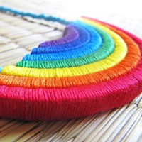 Rainbow Necklace Colorful necklace Rainbow by HippieKingdom