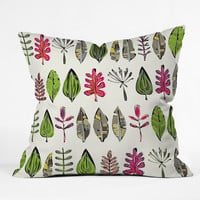 Sharon Turner Leaves And Feathers Throw Pillow