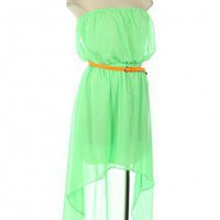 HIGH-LOW CHIFFON TUBE DRESS WITH BELT-Casual Dresses-casual dresses for juniors,casual dresses,comfort dress,casual elegant dress,designer dresses