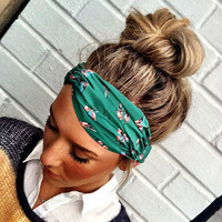 Teal Hummingbird Stretchy Twisted Headband by ThreeBirdNest