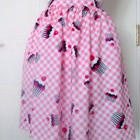 Vintage Style Pin-Up Pink Cupcake Print Gingham Skirt