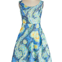 ModCloth Long Sleeveless A-line Down to a Fine Art Dress