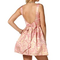 Jelena- Pink/Gold Brocade Short Dress