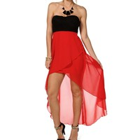 Black/Tomato Hi Lo Dress
