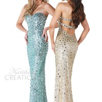Karishma 3670 - Aqua, Gold Strapless Beaded Prom Dresses Online