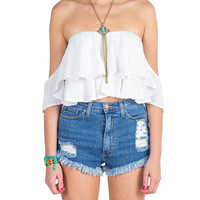 Off The Shoulder Ruffle Crop Top - White