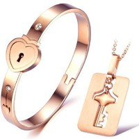 "Rose Gold Lovers Jewelry Set ""Only You Can Open My Heart"" Key Necklace Lock Bangle"