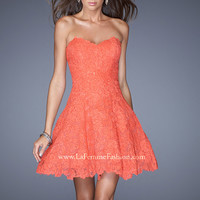 La Femme 19160 - Hot Coral Strapless Lace Short Prom Dresses Online