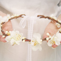 Flower Crown, Bridal Headpiece, Spring Blossoms, Floral Headband, Ivory Wreath, Woodland Wedding Hair Accessories, Rustic,