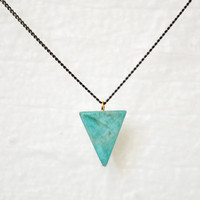 Delta long sleek turquoise triangle stone necklace on by edor