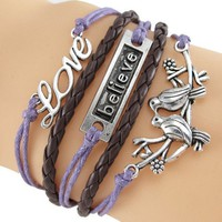 Retro Love Believe & LoveBirds Bracelet Wrap
