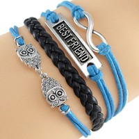 Blue Best Friend Owl Bracelet Wrap
