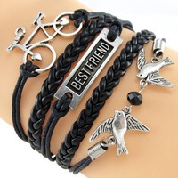 Black Best Friend Bicycle and Sparrow Birds Bracelet Wrap