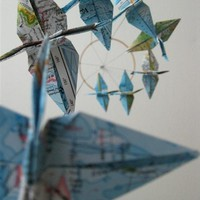 Around the World Crane Mobile by SpareBedroomStudio on Etsy