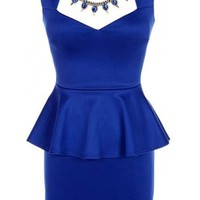 The Blue Jeweled Peplum Dress