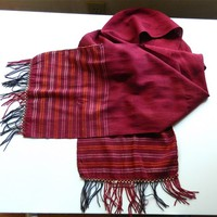 Handwoven Red Silken Scarf from Turkmenistan, Ethnic Tribal Vintage | craftsofthepast - Accessories on ArtFire