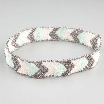 Full Tilt Chevron Seed Bead Headband Mint One Size For Women 23442352301