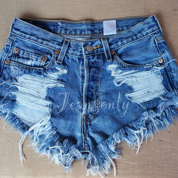 Hipster Grunge clothing High waisted denim shorts distressed destroyed ripped shredded jeans by Jeansonly