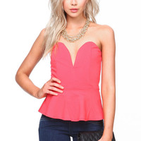 SWEETHEART PLUNGE PEPLUM TOP